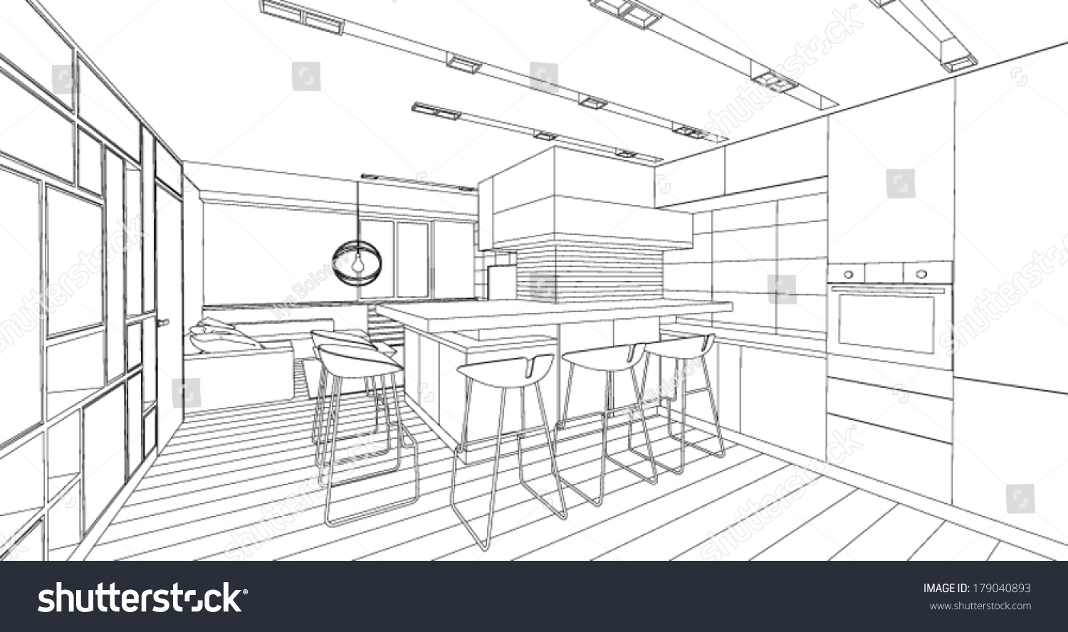 Interior Vector Drawing Architectural Design Living Stock