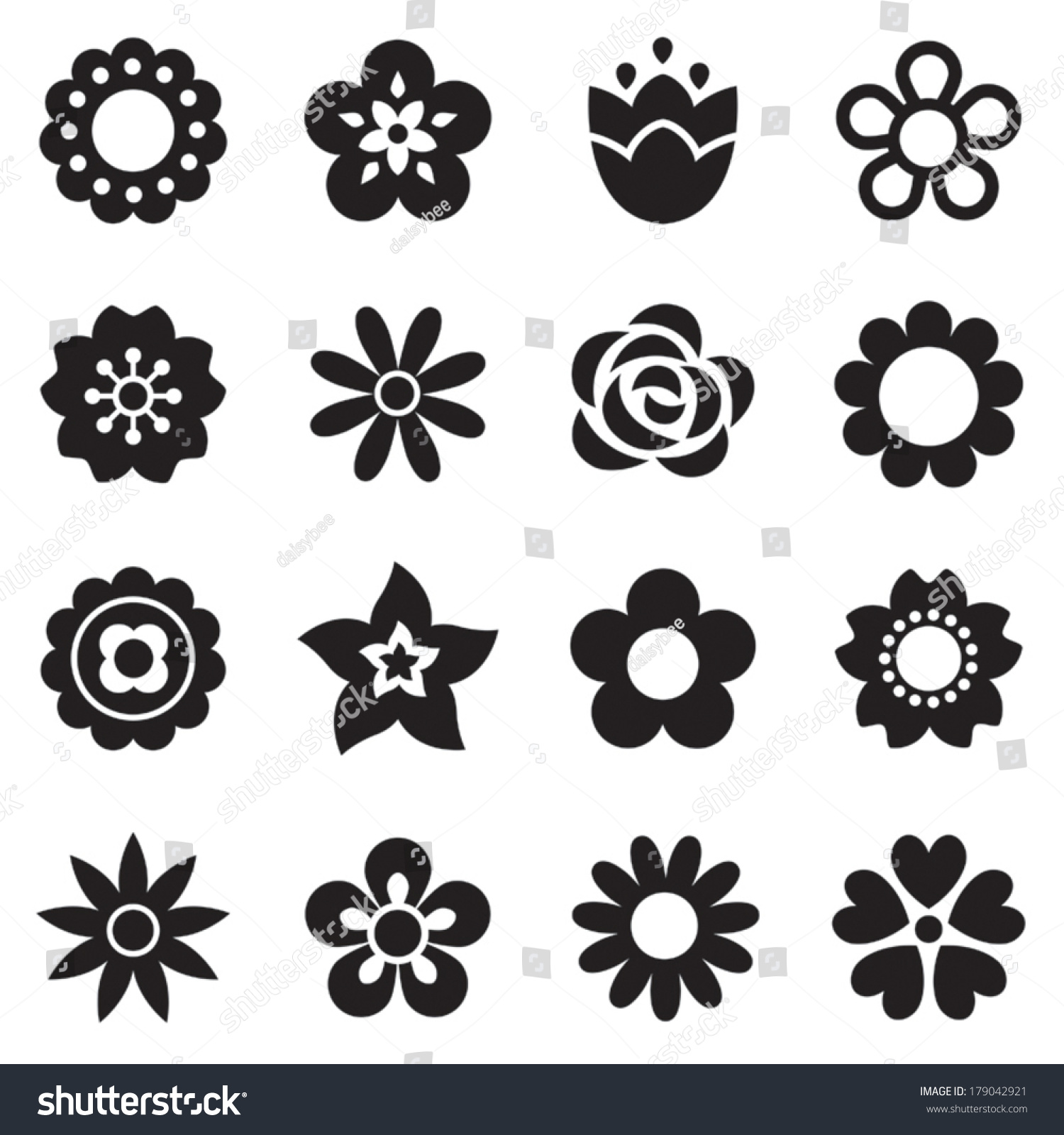Six Black Flower Design Stock Images: Set Of Flat Flower Icons In Silhouette Isolated On White