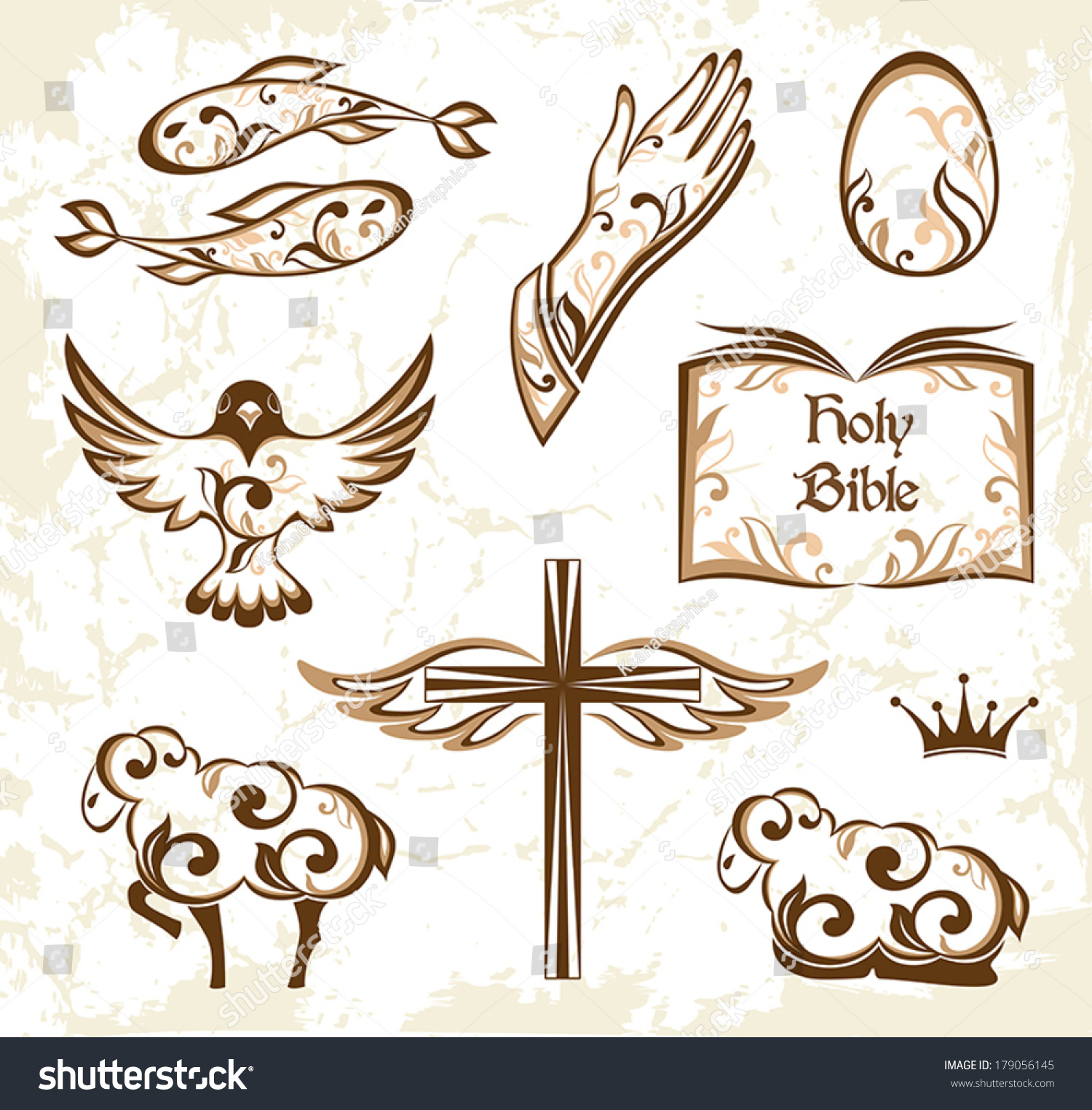 Set Decorative Holy Easter Elements Christian Stock Vector Hd