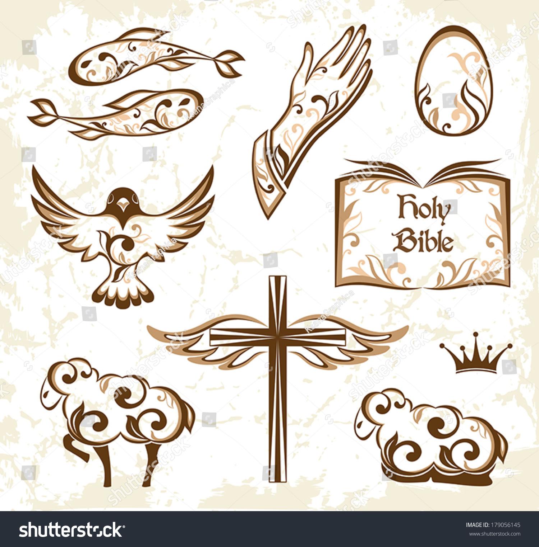 Set decorative holy easter elements christian stock vector set of decorative holy easter elements christian symbols biocorpaavc