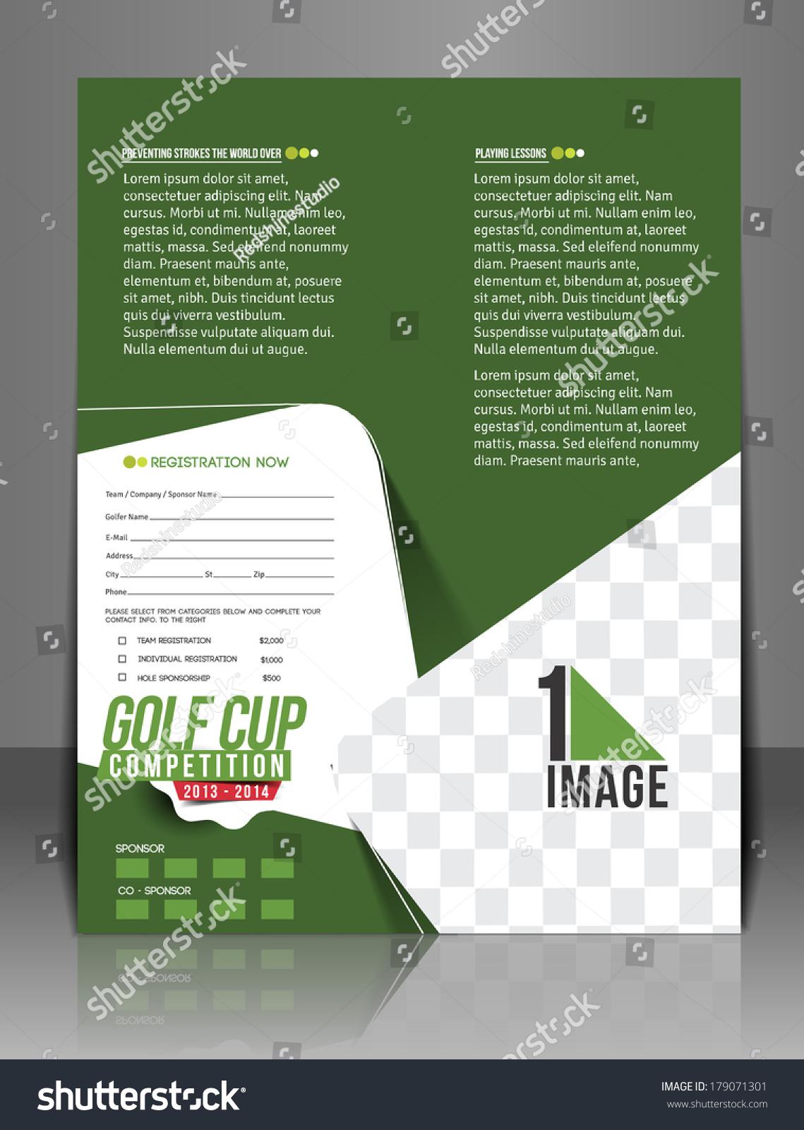 golf tournament brochure template - golf tournament back flyer template stock vector 179071301
