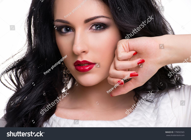 Beautiful Woman Long Curly Hair Bright Stock Photo (Royalty Free ...