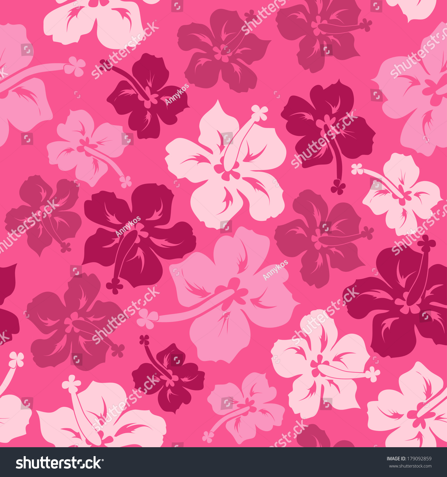 Floral Seamless Pattern Of Pink Red Hawaiian Hibiscus Ez Canvas