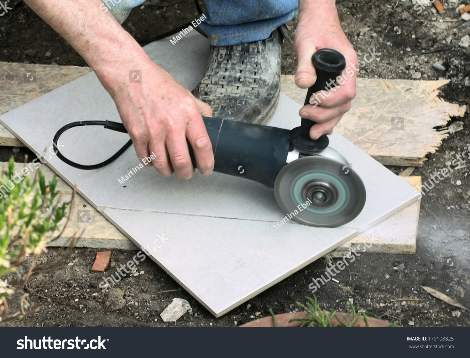 Craftsman Cutting Floor Tile Portable Angle Stock Photo Edit Now