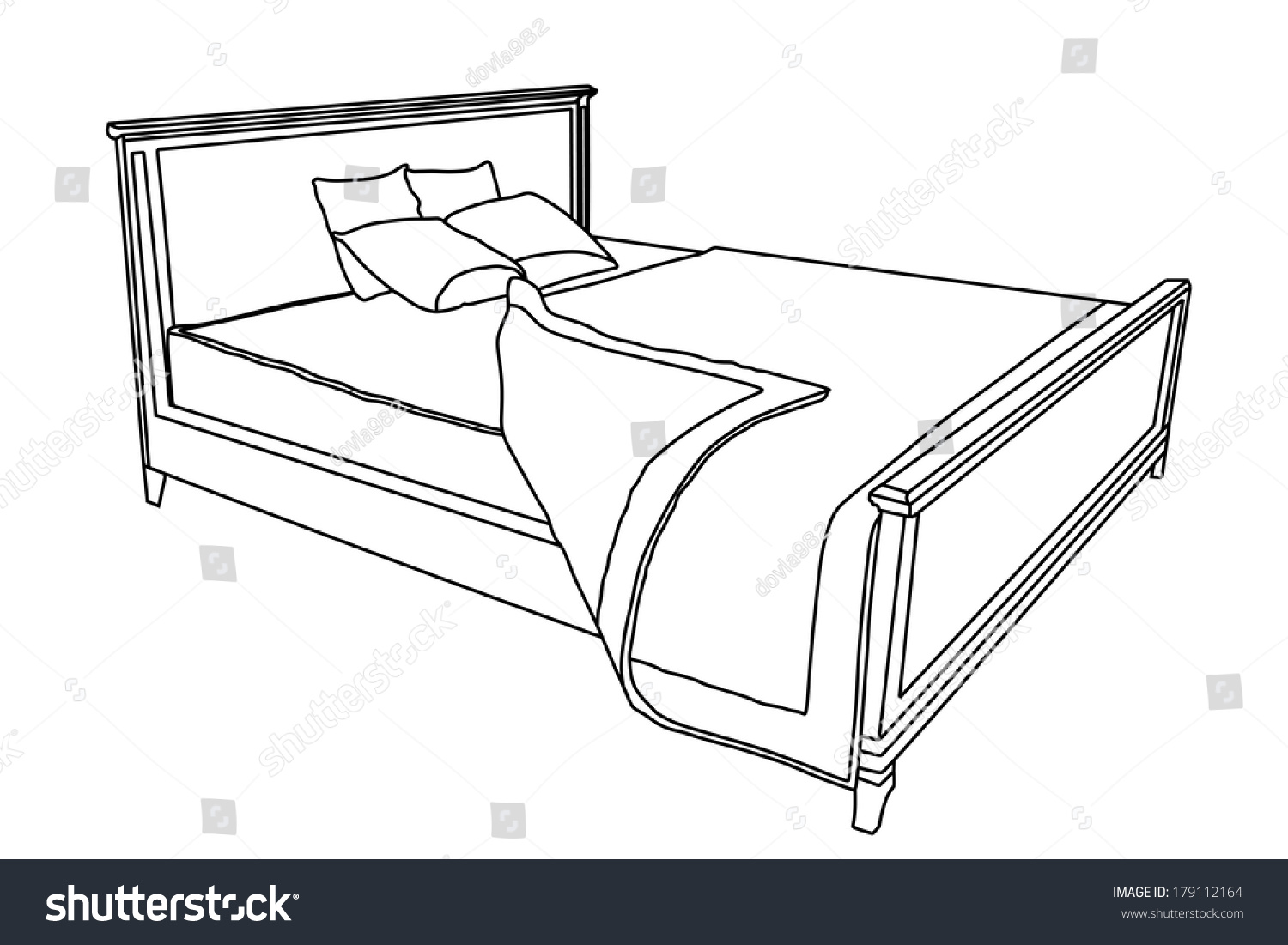 Bed Vector Icon With Bedspread Isolated On White ...