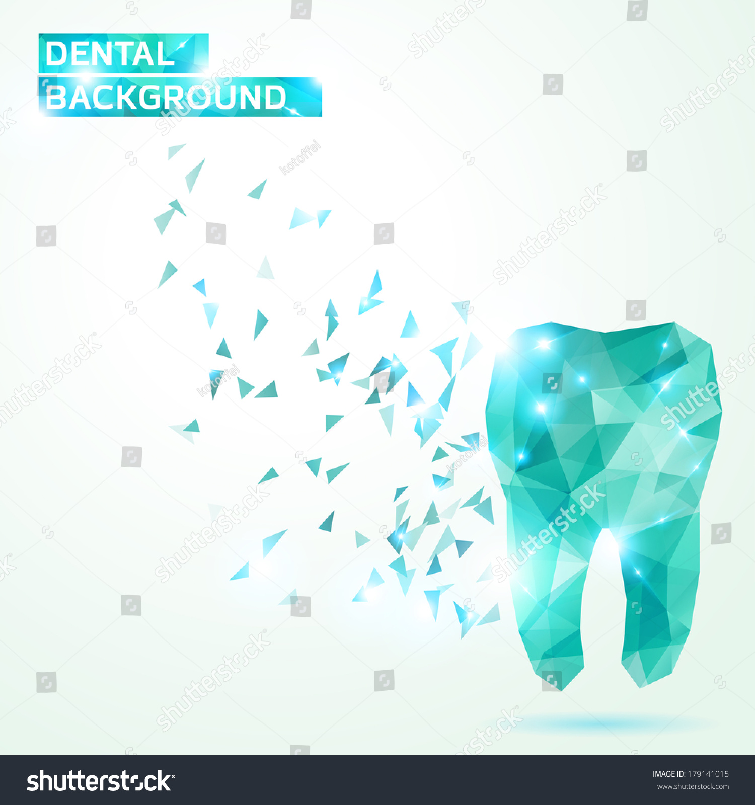 Polygonal Turquoise Vector Tooth Abstract Illustration