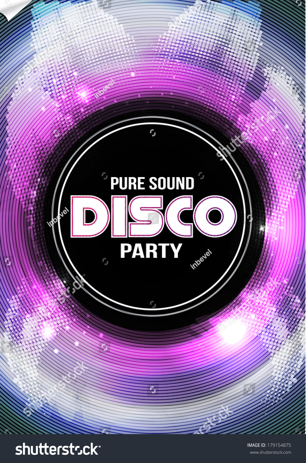 Disco Party Flyer Background Template Vector Stock Vector ...