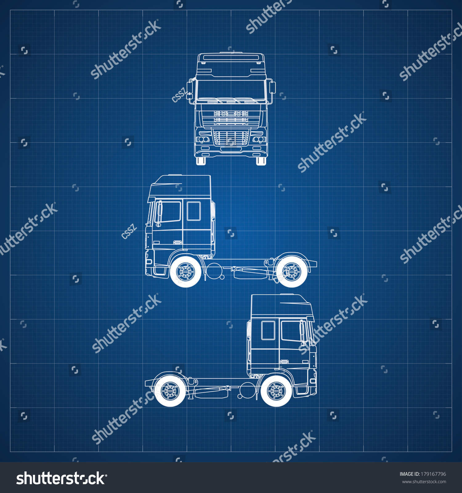 Blueprint commercial vehicle european truck head stock vector blueprint of commercial vehicle european truck head 3 views malvernweather Images