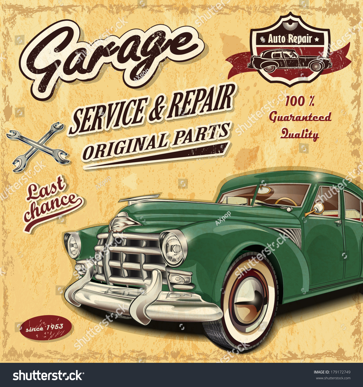 Vintage garage retro banner illustration vectorielle libre for Imagenes retro vintage