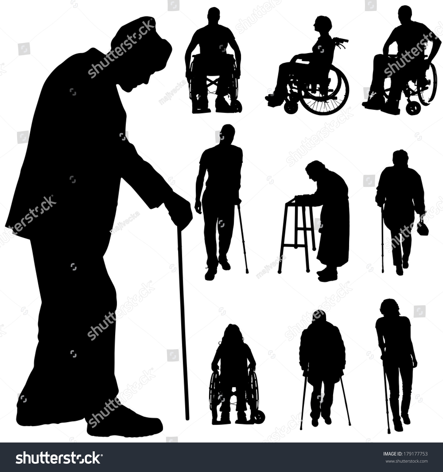 Vector Silhouette Of Disabled People On A White Background ...
