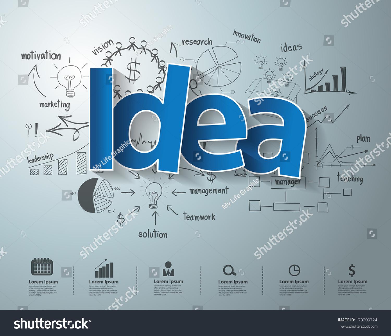 Idea Text Creative Drawing Charts Graphs Stock Vector (Royalty Free ...