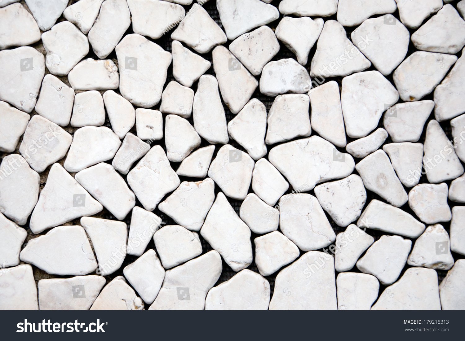 Smooth shaped white stones surface texture background stock photo - Triangle Pebble Stone Flooring Texture