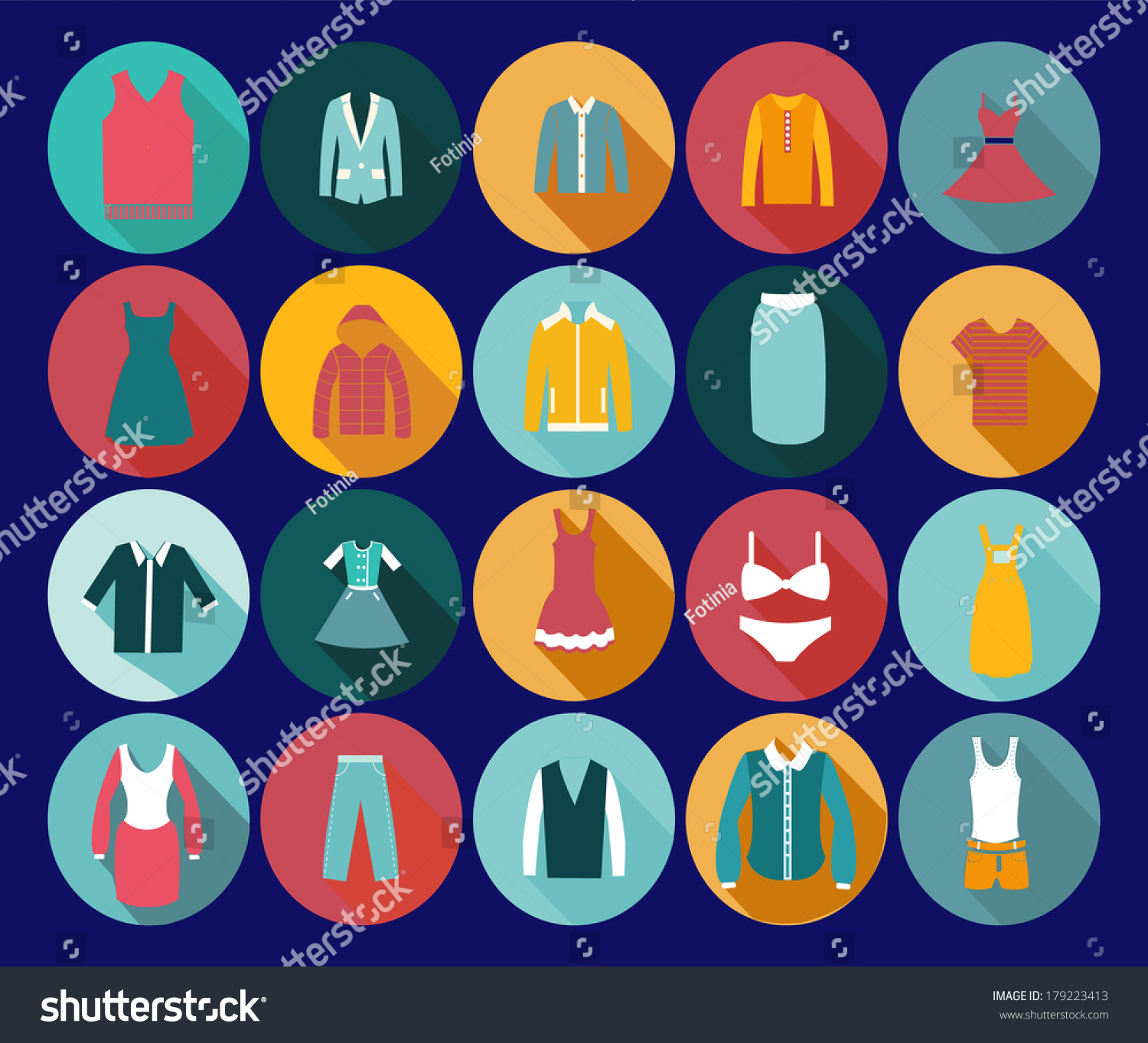 Vintage Clothing Icons Illustration Department Store Stock Vector 179223413 Shutterstock