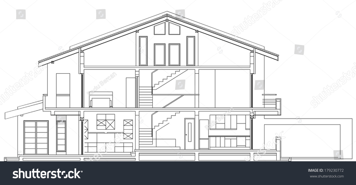 Modern classic american house facade section architectural for American classic modern house