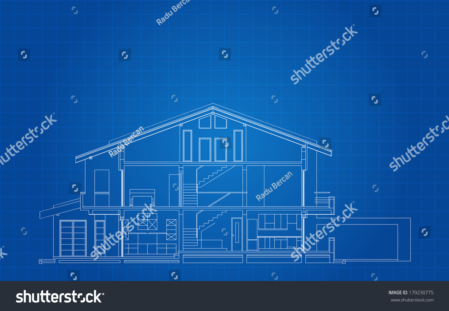 Modern classic american house facade section stock vector for Architecture blueprint