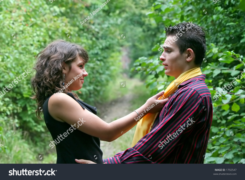 Young girl seducing her boyfriend
