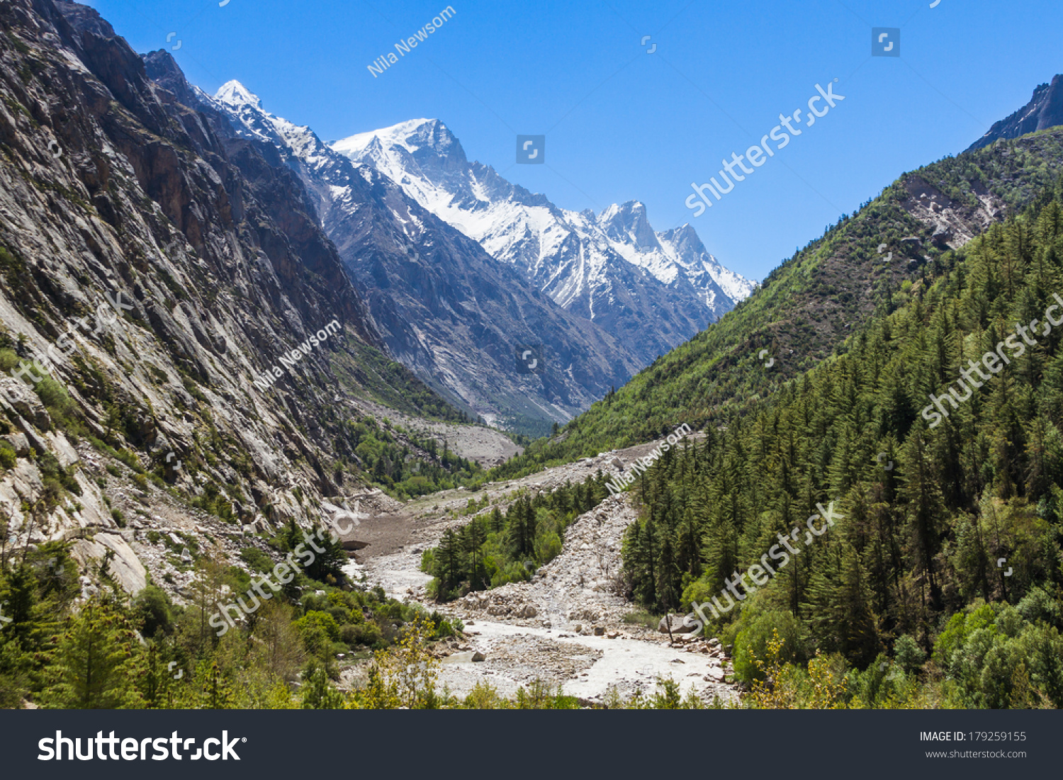 Ganges River Flowing Down Gangotri Valley Stock Photo ...