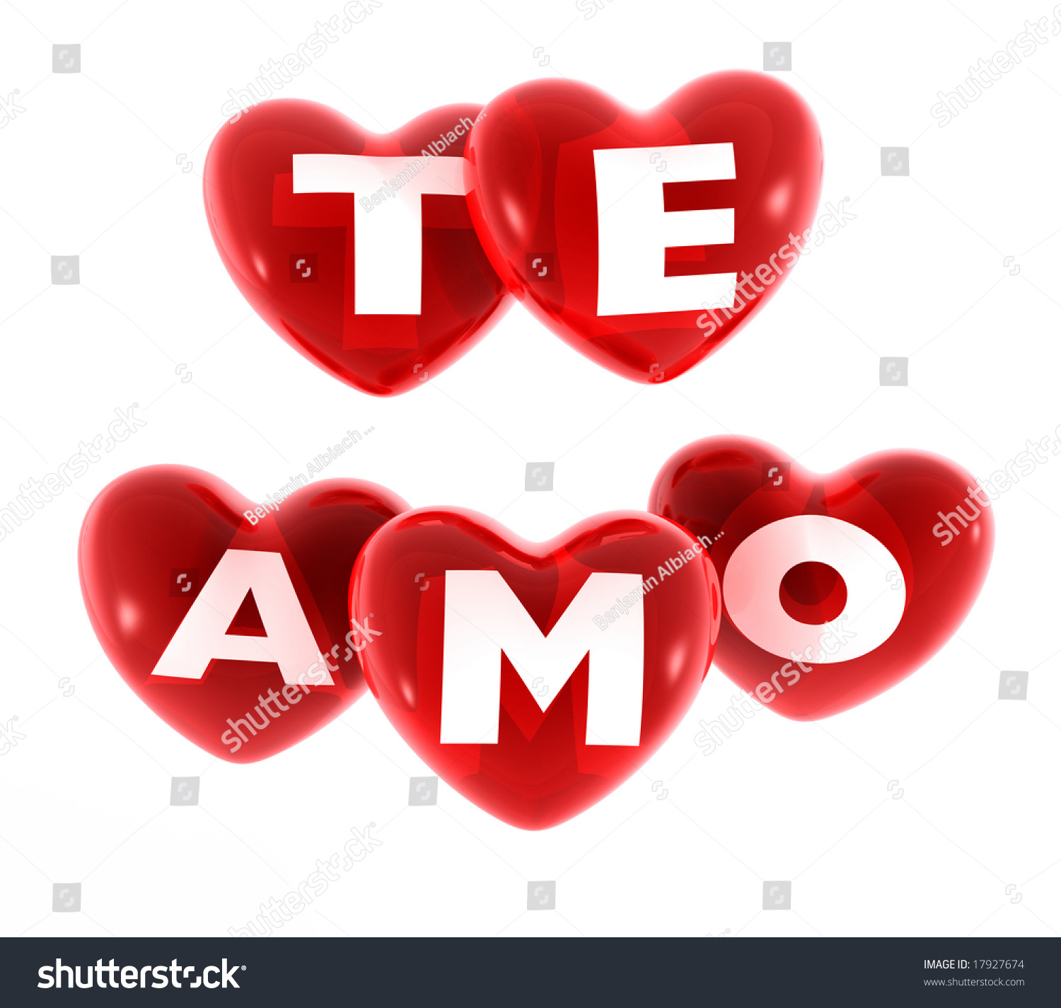 Hearts With The Text (Te Amo) Stock Photo 17927674