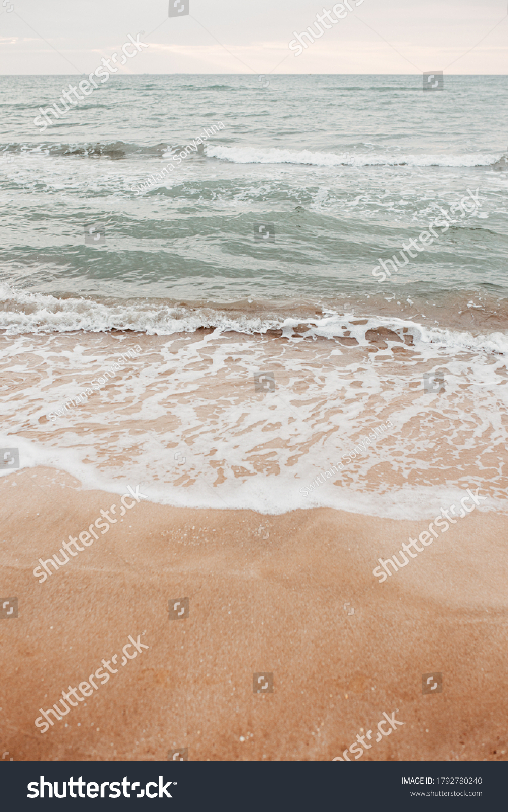 neutral sea ocean background with waves. Photos with a neutral color palette #1792780240