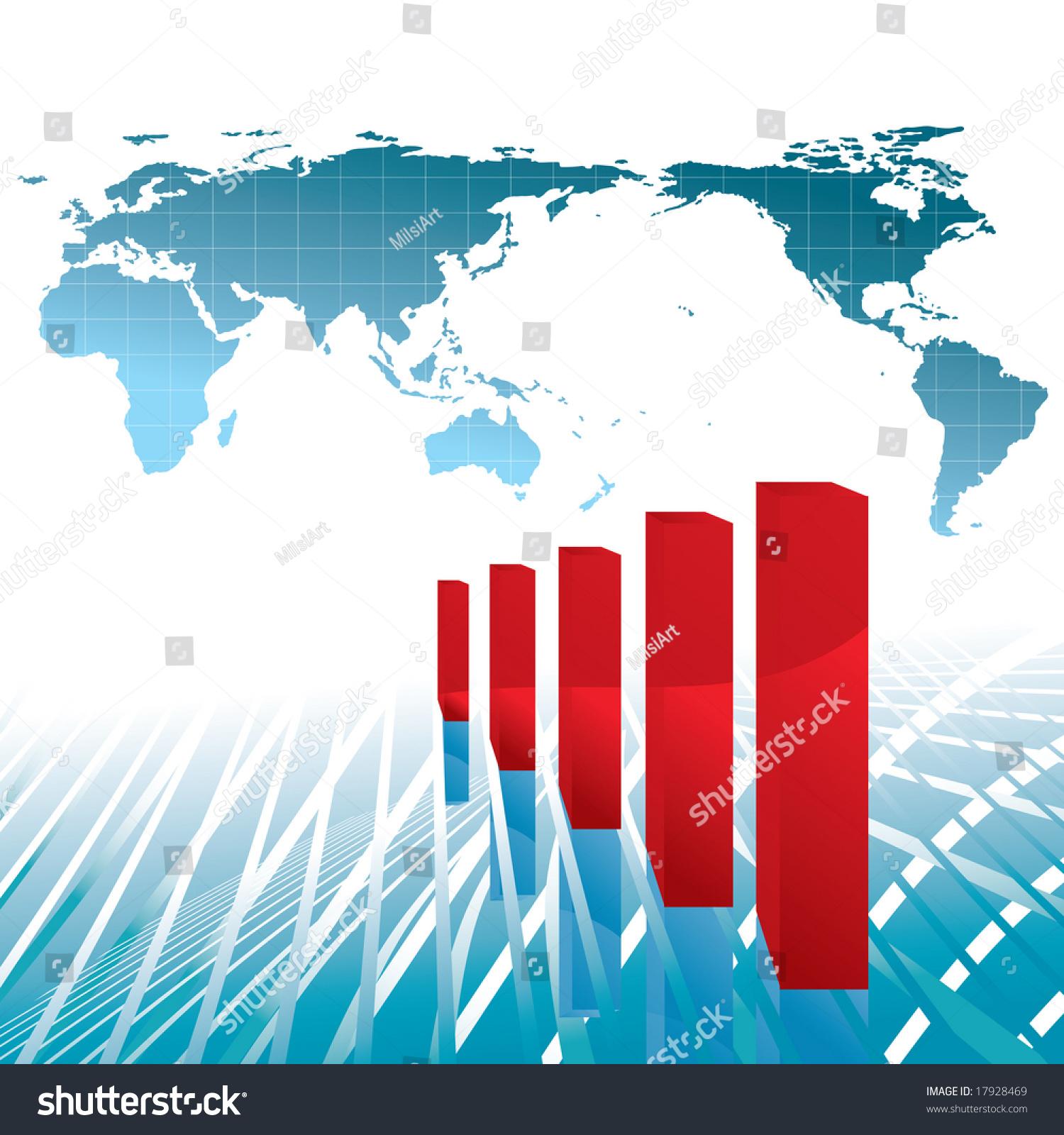 World Economy Growth Chart Illustration Base Stock Illustration