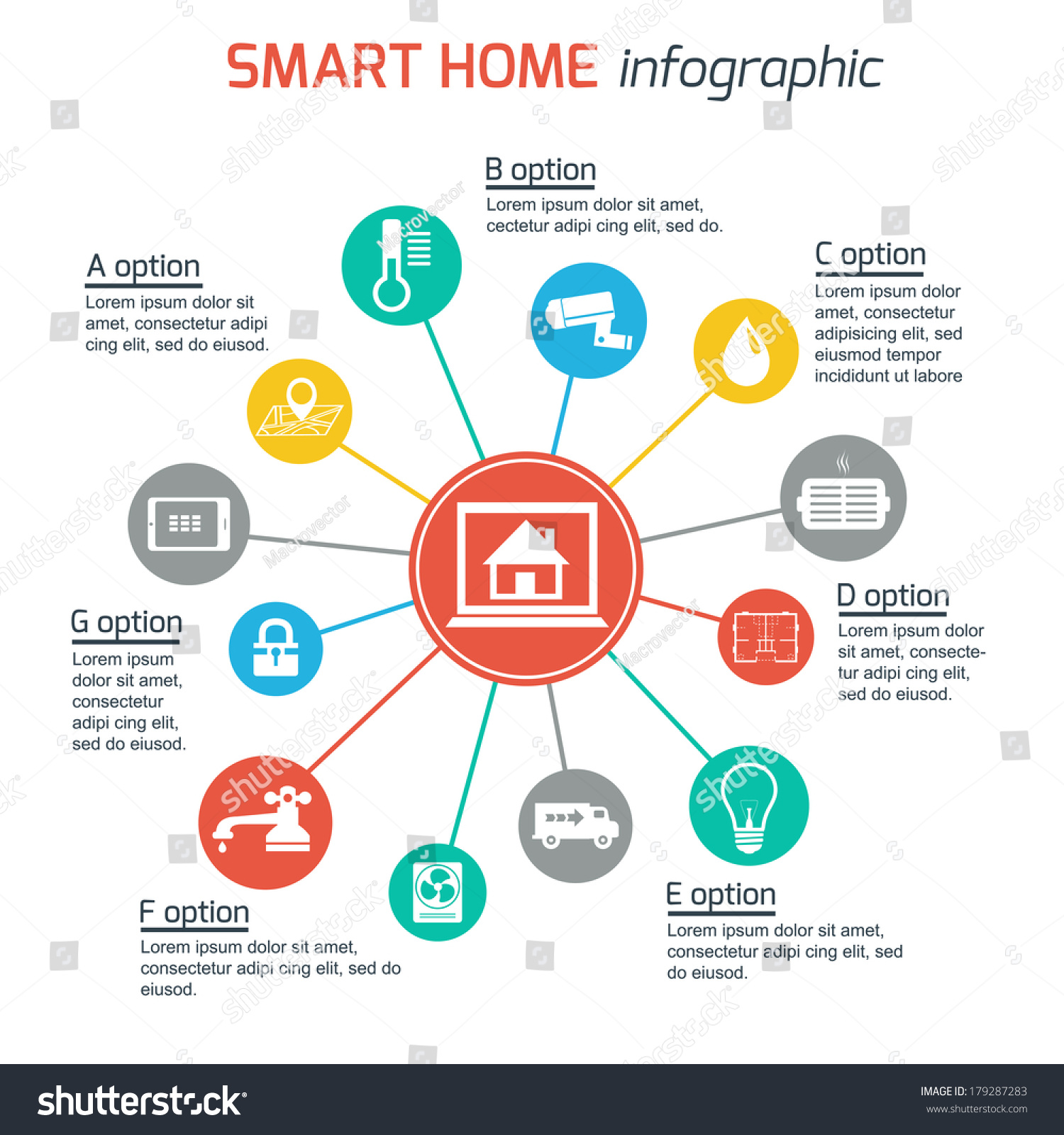 Smart home automation technology infographics utilities for Home elements