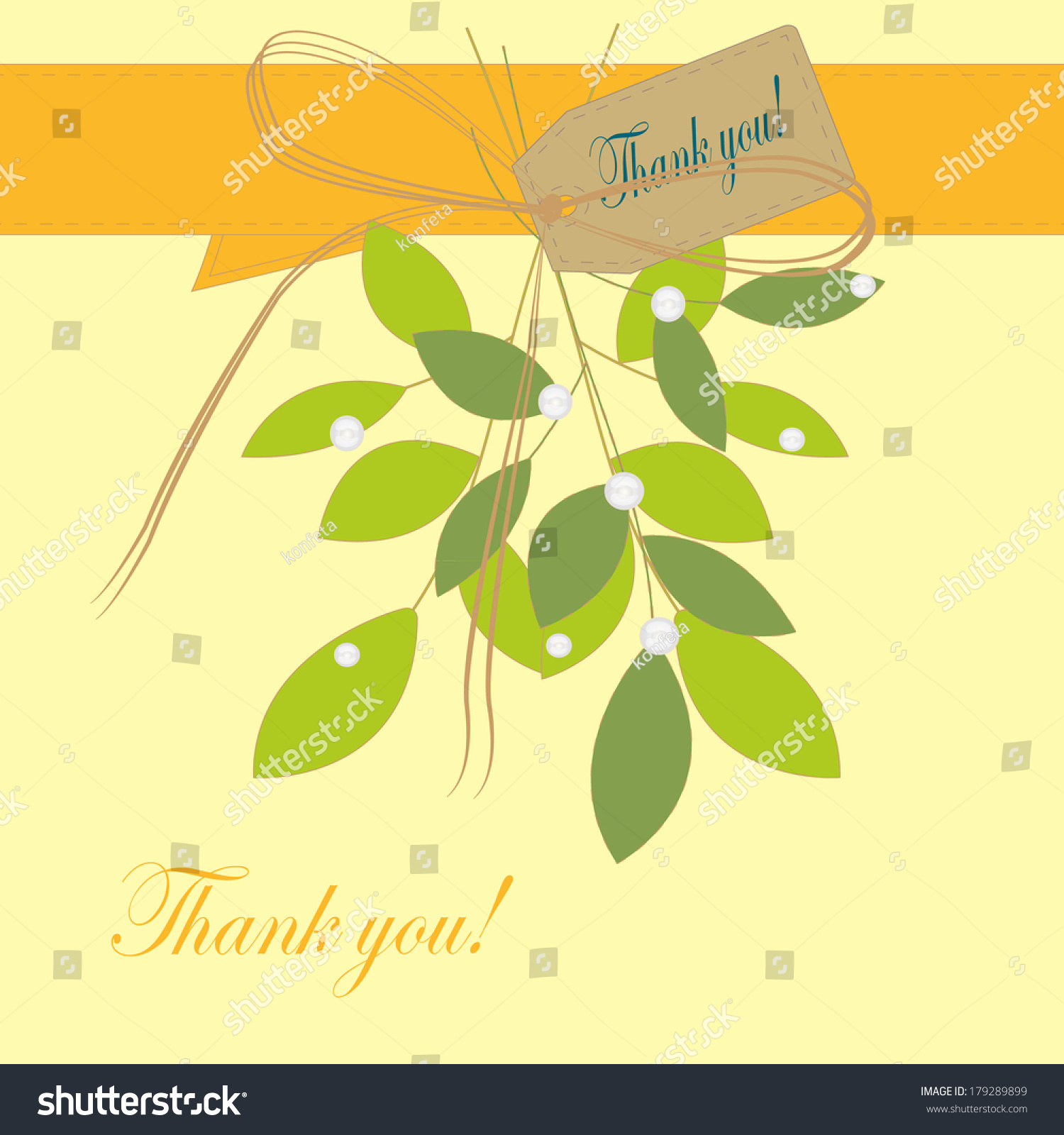 Vector thank you script greeting card stock vector 179289899 vector thank you script greeting card with cute floral elements kristyandbryce Choice Image