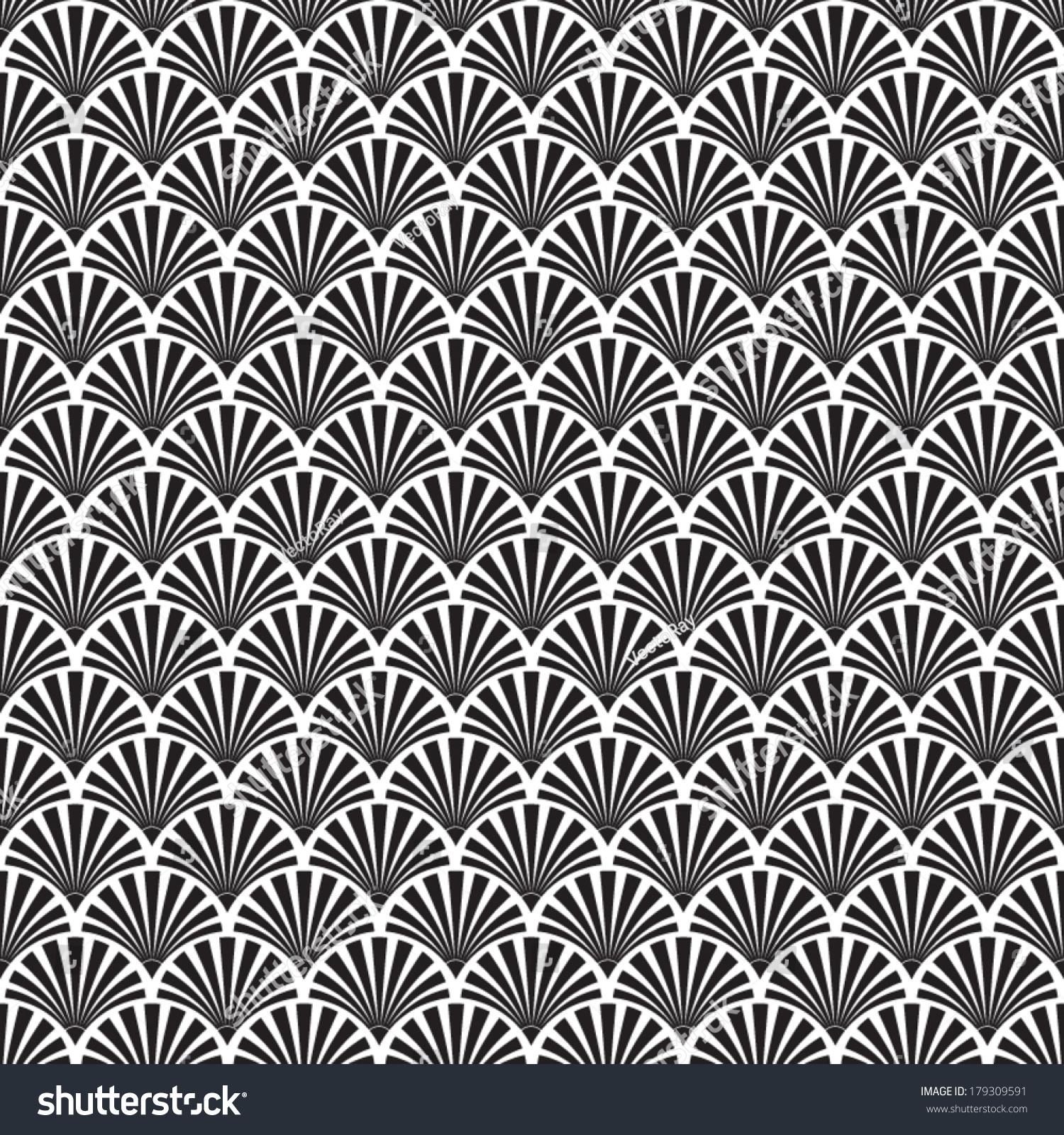 Abstract Seamless Black White Art Deco Stock Vector 179309591 ...