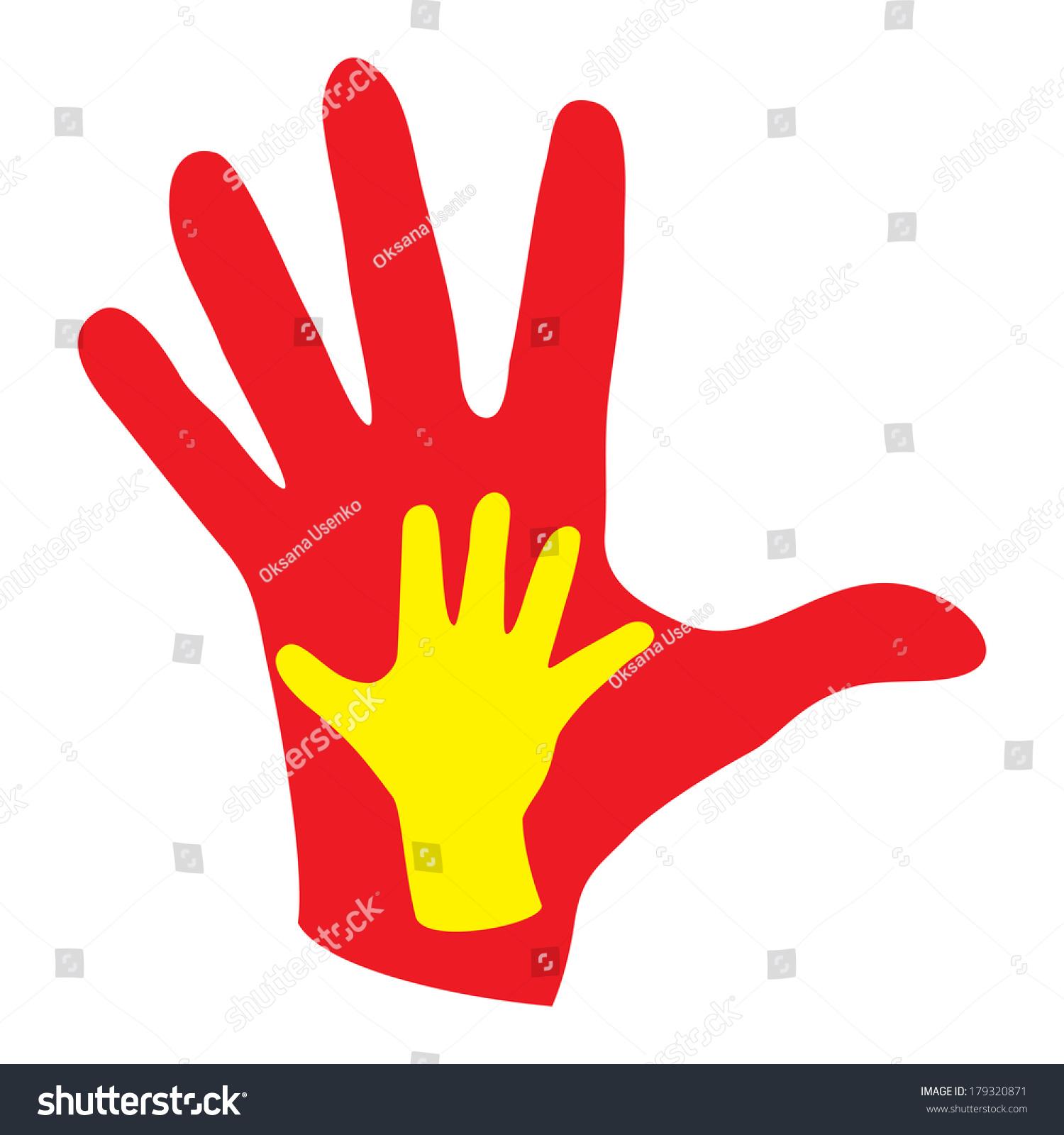 Childrens Hand On Background Adult Hand Stock Illustration 179320871