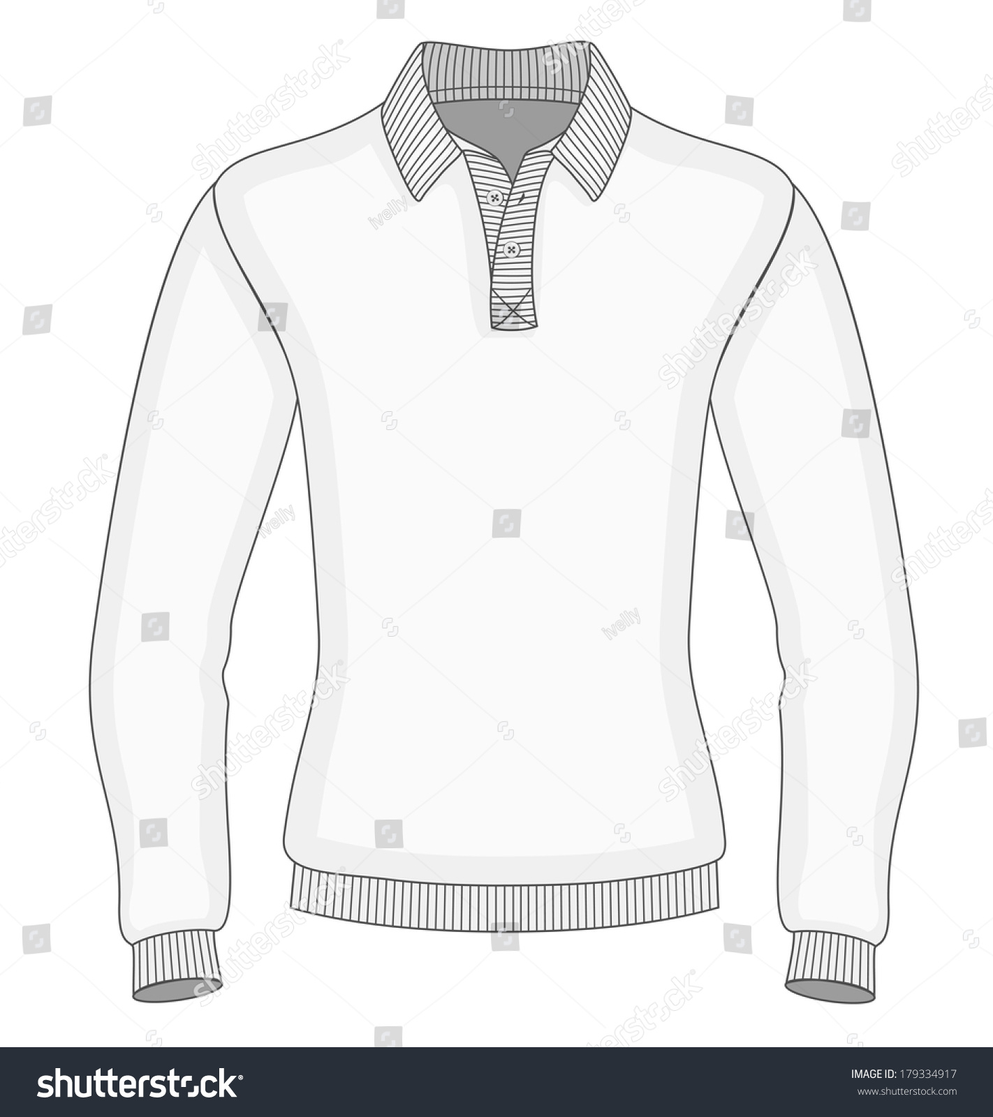 mens long sleeve polo shirt design stock vector 179334917 shutterstock. Black Bedroom Furniture Sets. Home Design Ideas