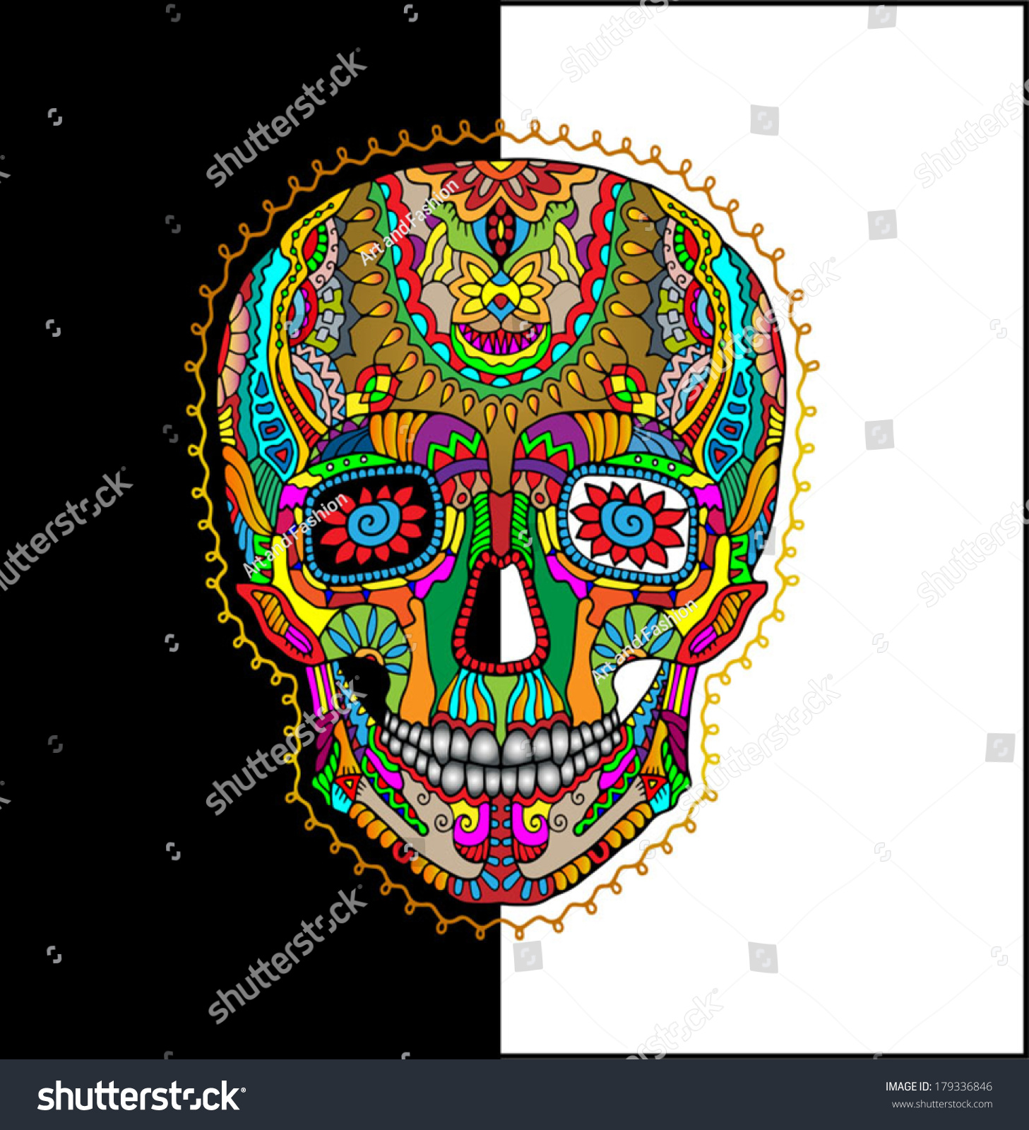 Vector colorful Sugar Skull Day of the Dead
