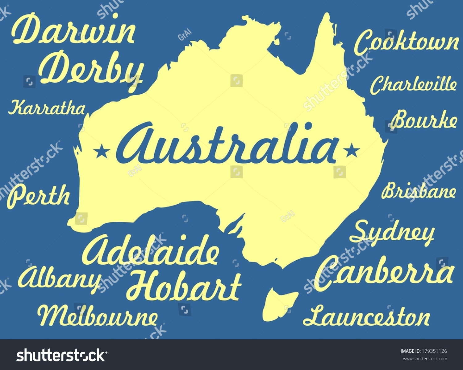Australia Continent City Names On Backdrop Stock Illustration ...