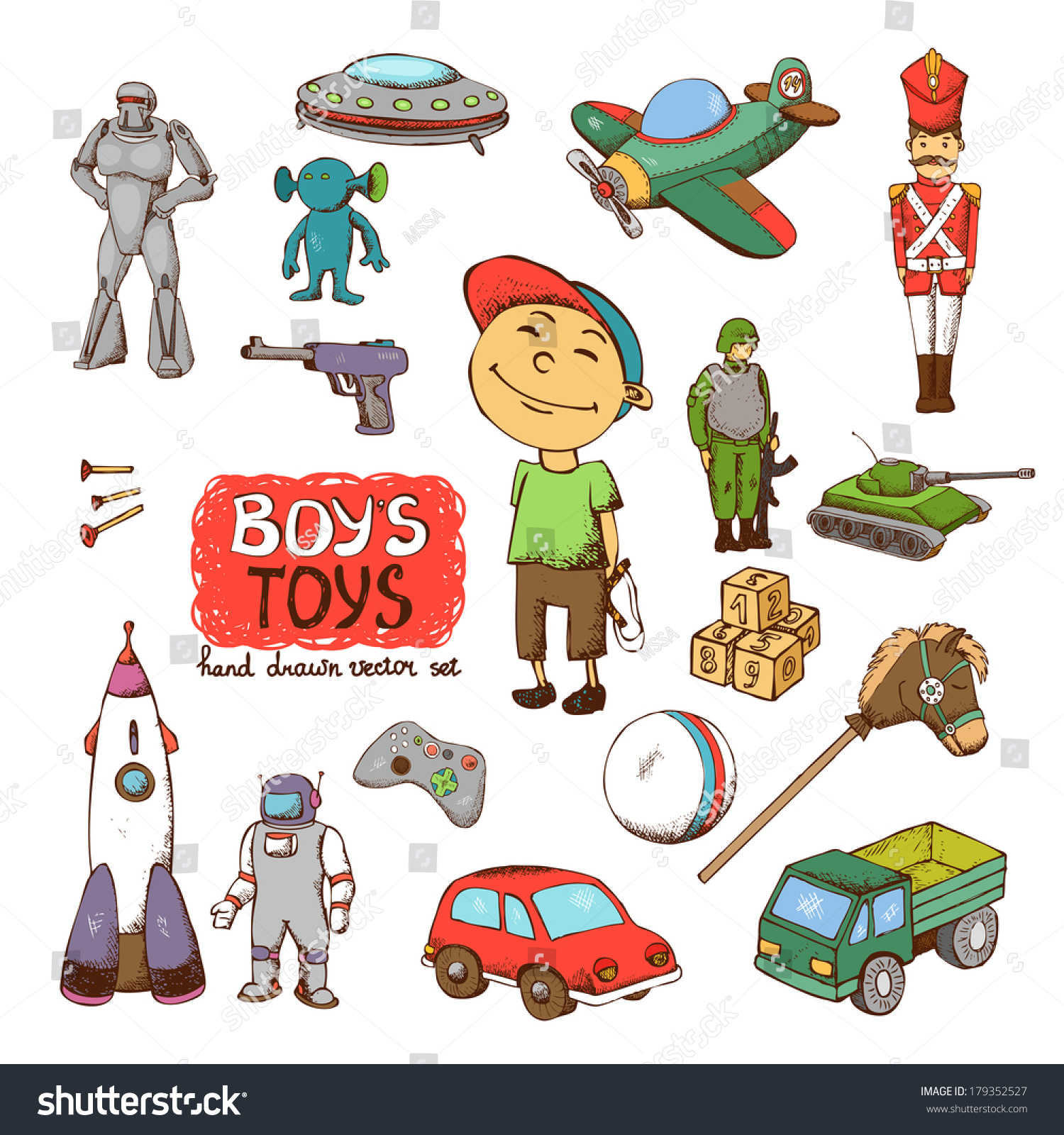 Vector Toys Boy Rocket Gun Drum Stock Vector Shutterstock