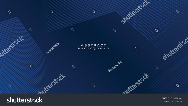Dark blue background. Modern line stripes curve abstract presentation background. Luxury paper cut background. Abstract decoration, golden pattern, halftone gradients, 3d Vector illustration #1793571184