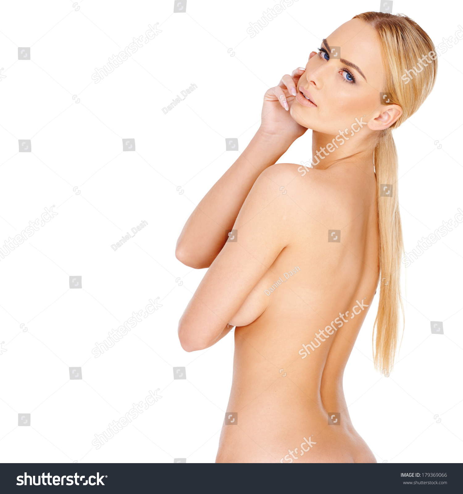 naked girl with shoulder pads on