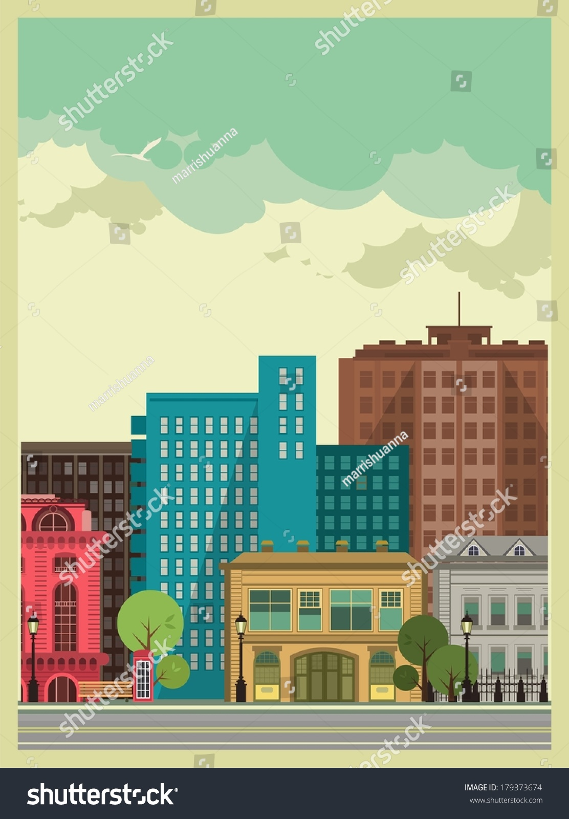 Cityscape Tall Buildings Apartment Buildings Small Stock Vector - Small apartment buildings