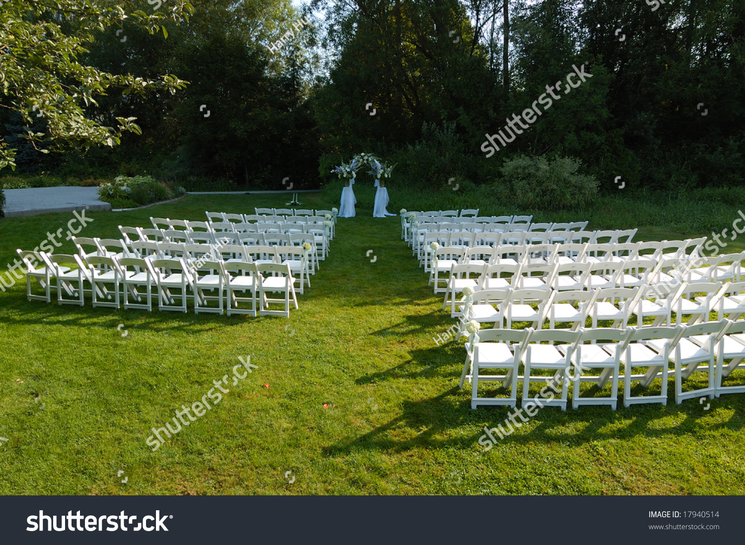 White Chairs At A Wedding Indoor Stock Photo: Outdoor Wedding Reception Venue Set White Stock Photo