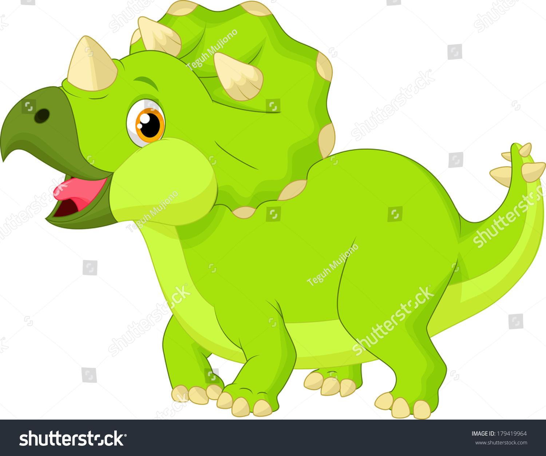 cute triceratops cartoon stock illustration 179419964