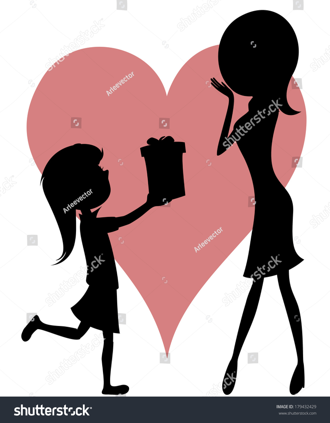 Surprise Mom Cartoonstyle Art Black Silhouettes Stock ...