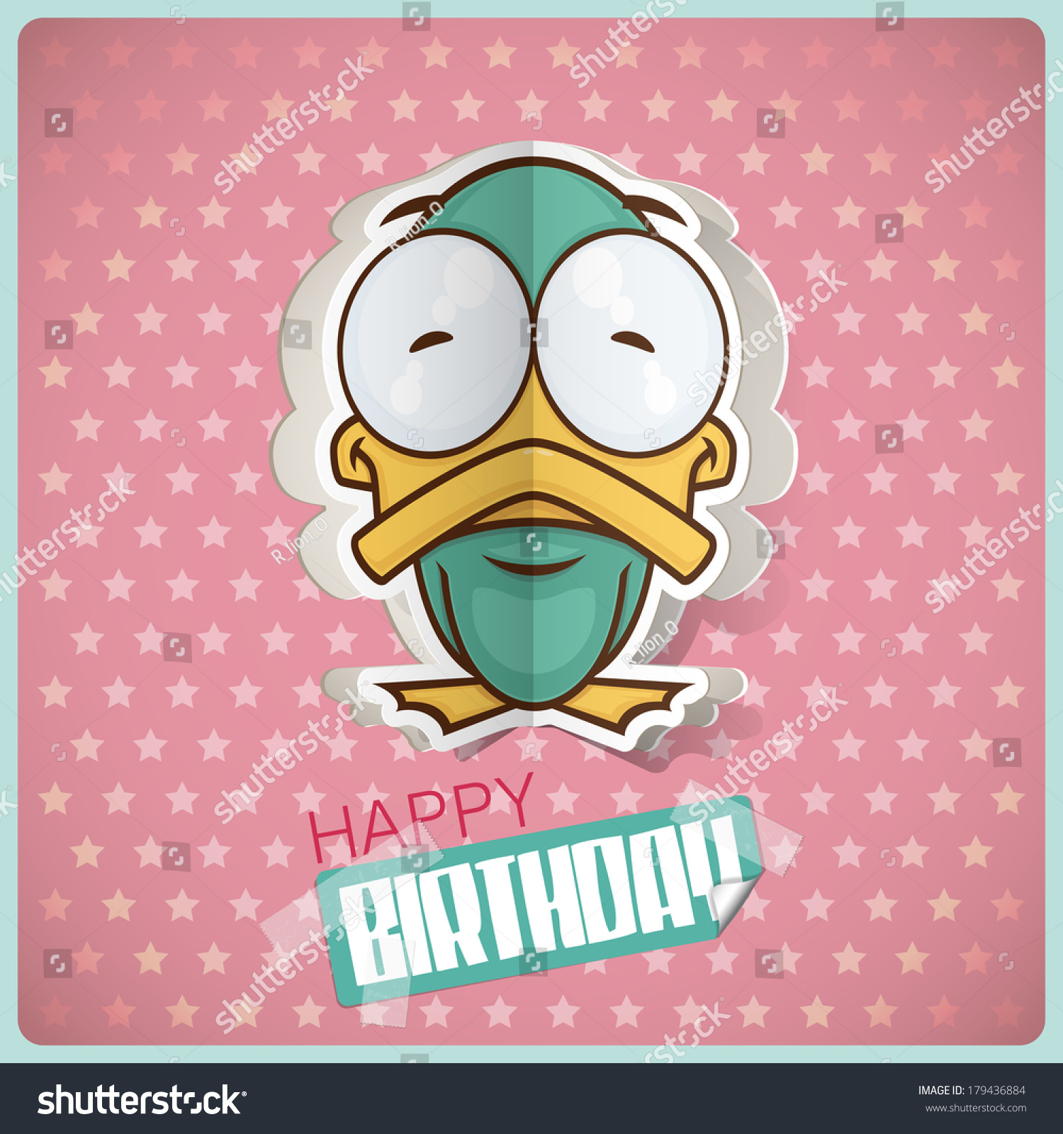 Birthday Greeting Card Cartoon Duck Character Stock Vector
