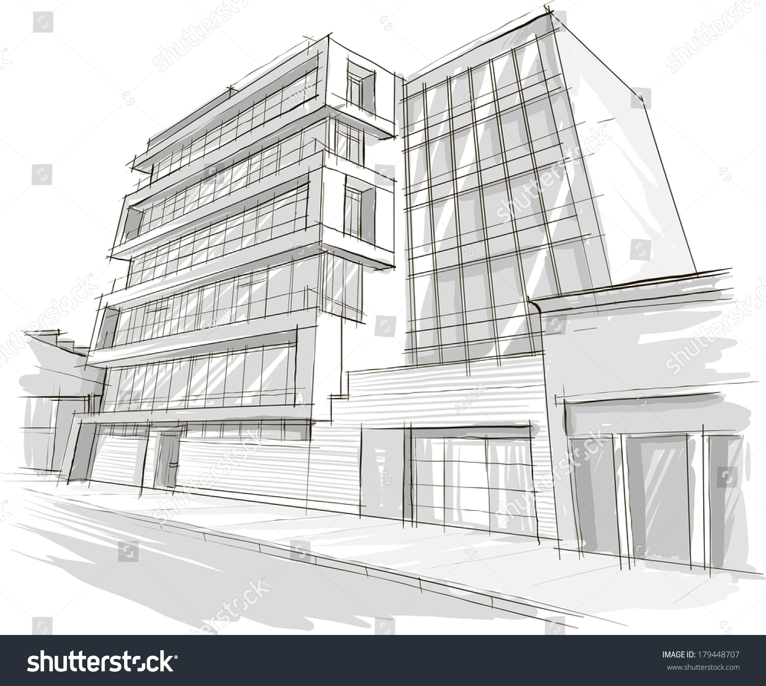 Architecture Sketch Drawing Of Building City Stock Vector