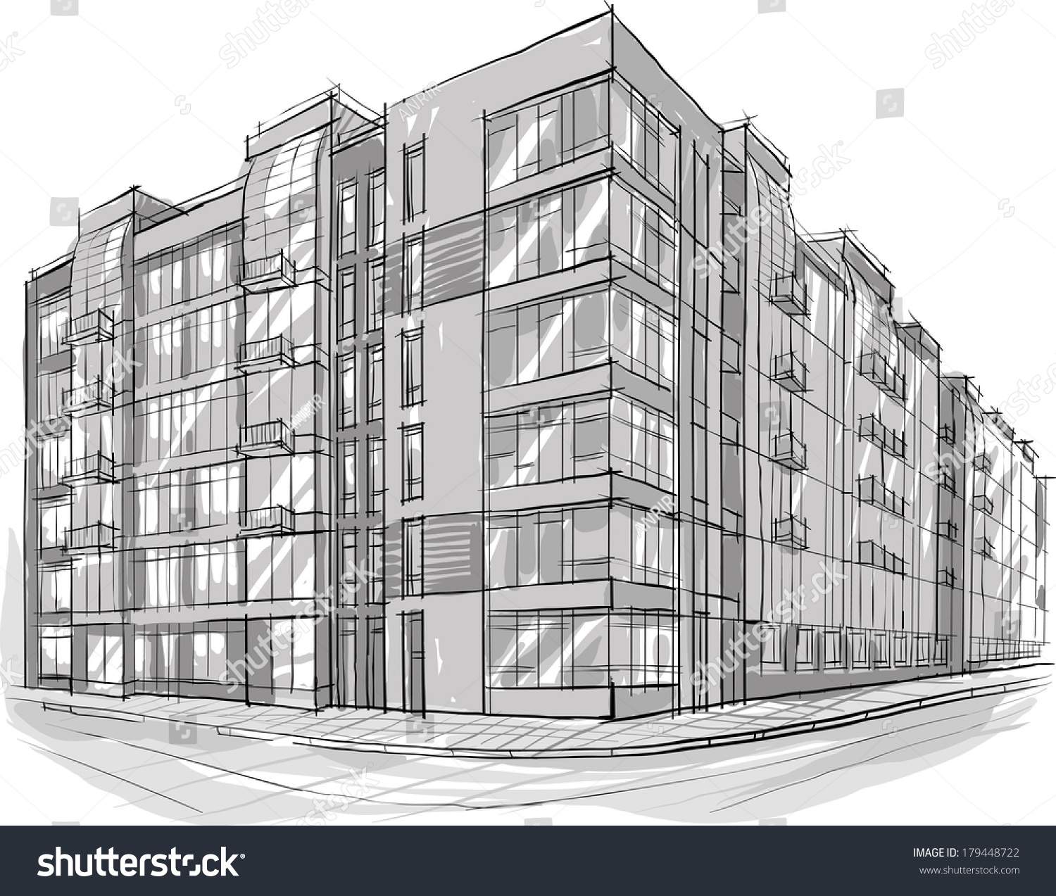 Architecture Sketch Drawing Building City Stock Vector Royalty Free