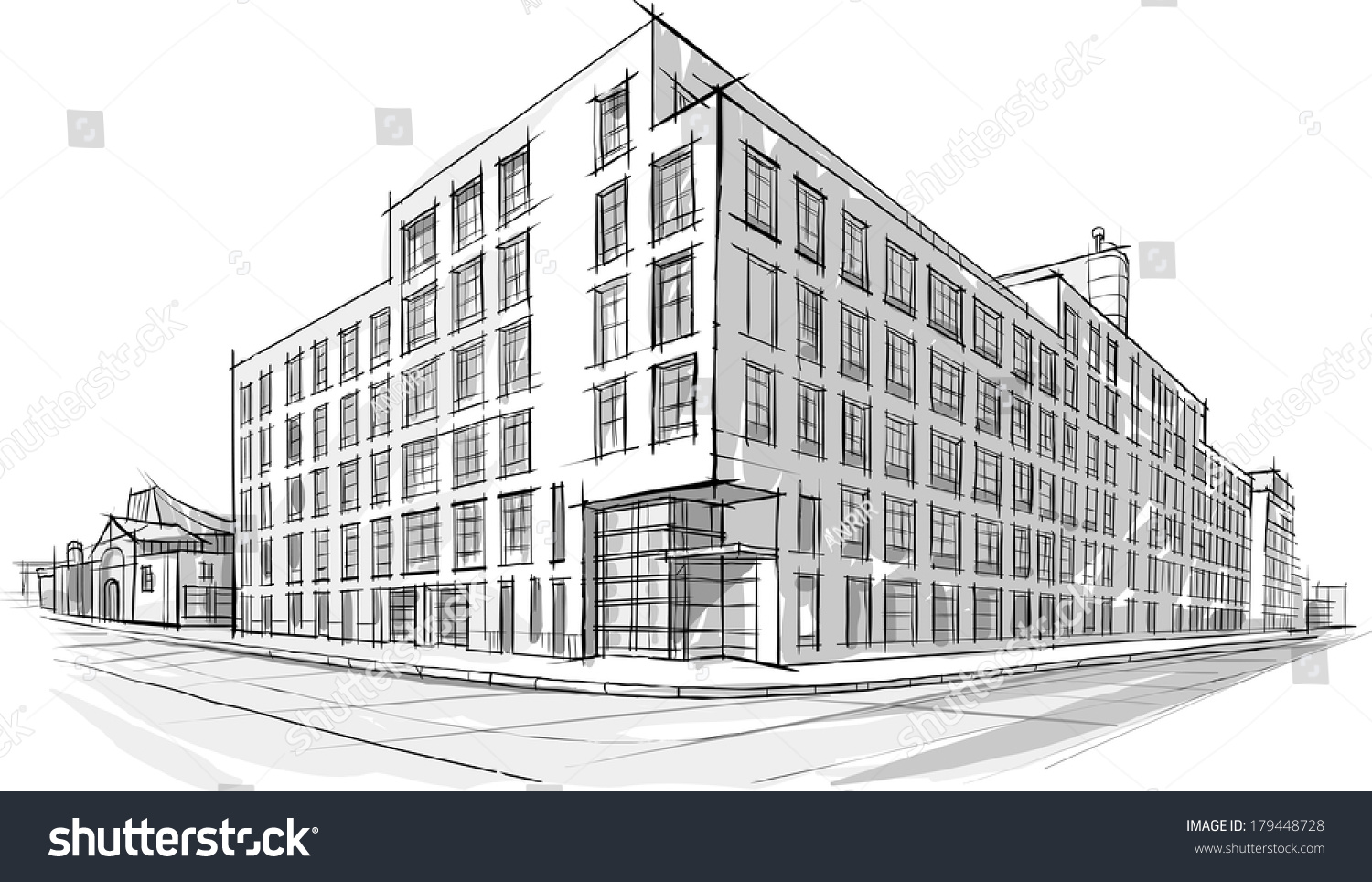 Architecture Sketch Drawing Buildingcity Stock Vector