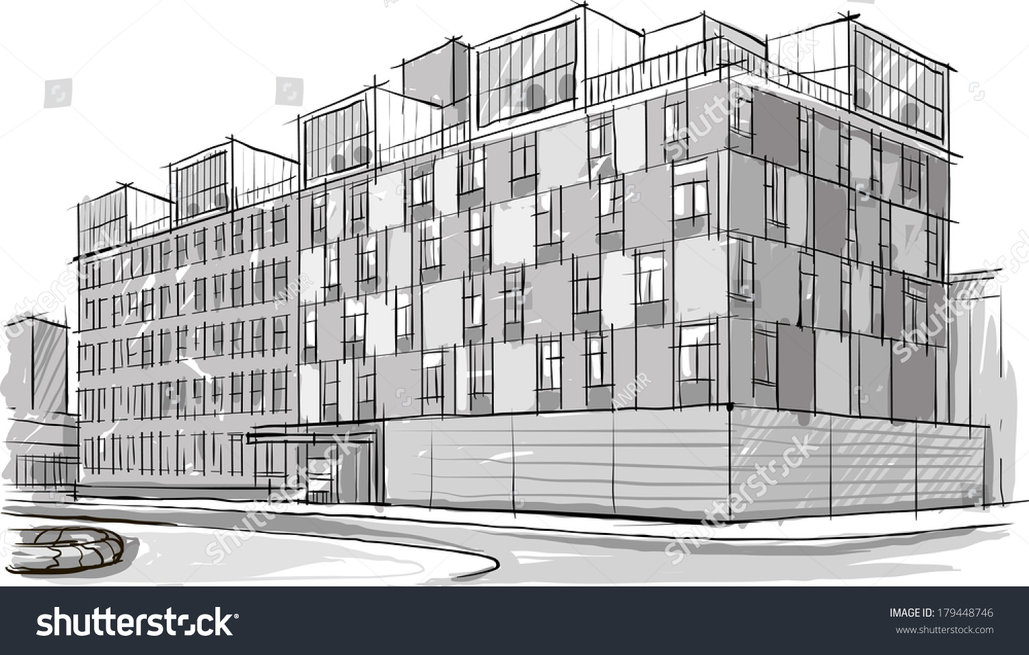 Architecture Sketch Drawing Buildingcity Stock Vector ... |City Building Sketches