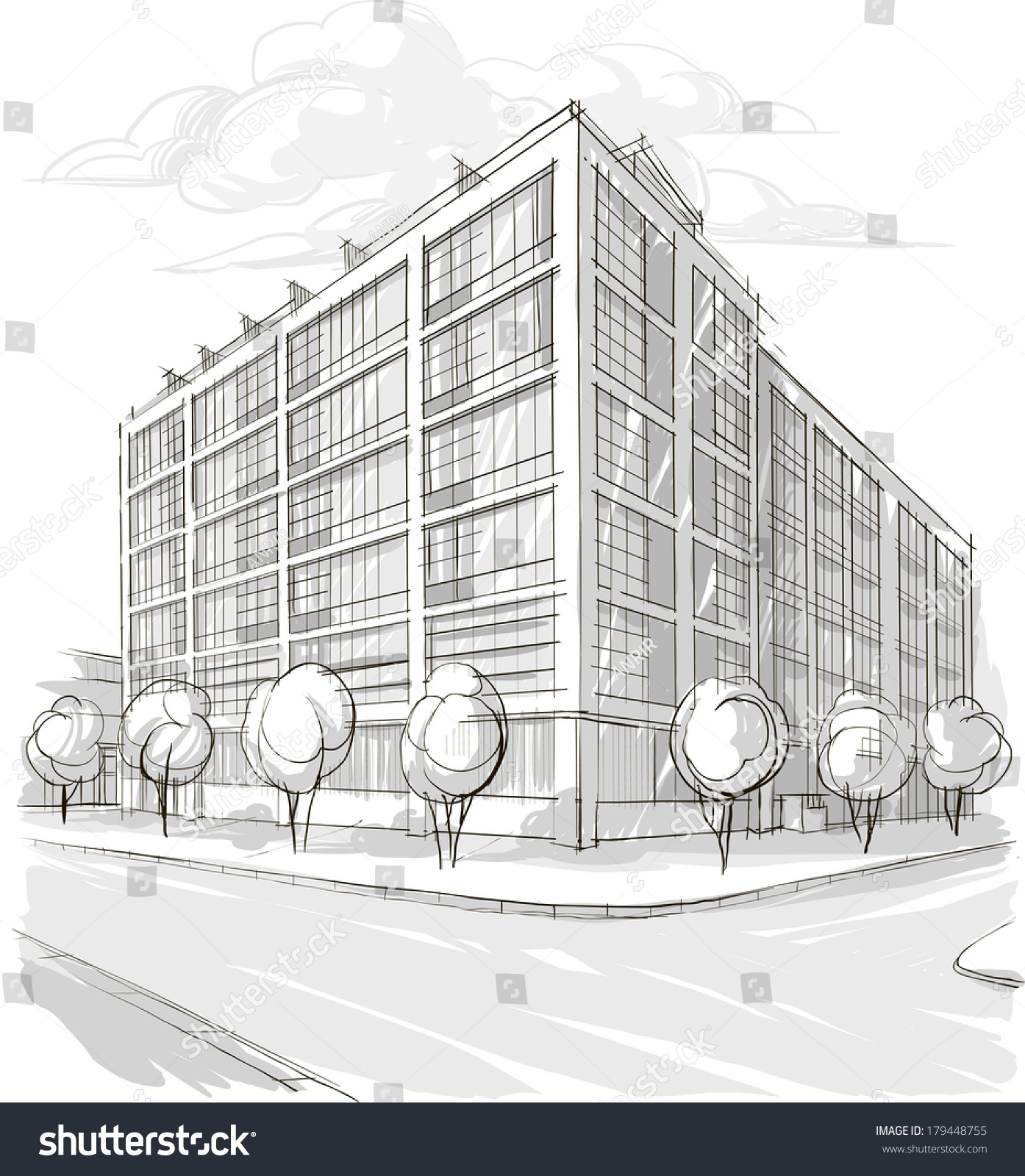 Architecture Sketch Drawing Buildingcity Stock Vector 179448755 - Shutterstock