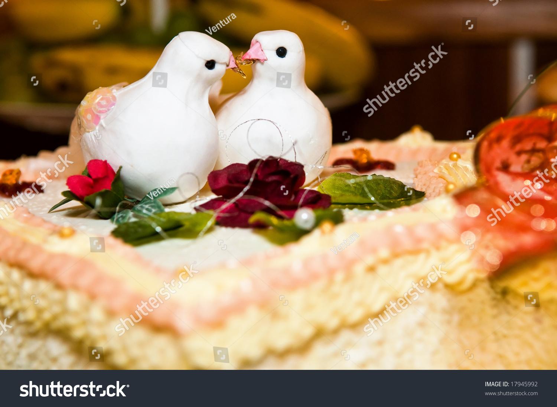 White Wedding Cake Two Doves Rings Stock Photo (Edit Now) 17945992 ...