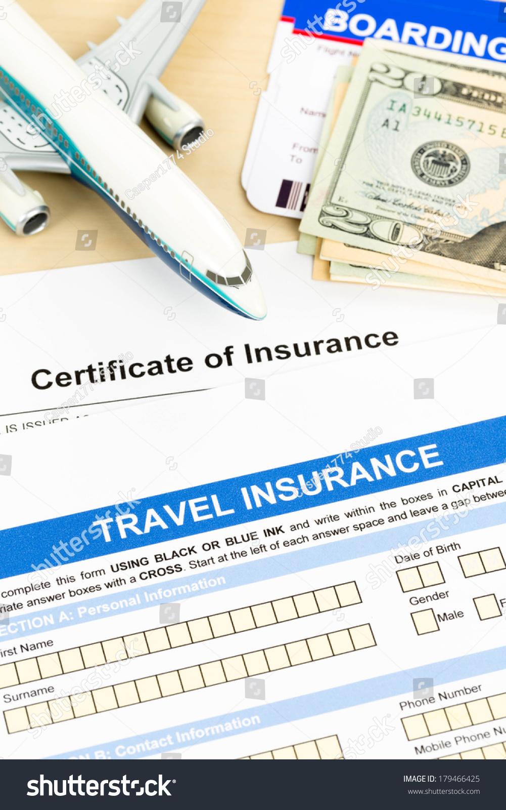 Travel Insurance Application Form Plane Model Stock Photo Edit Now