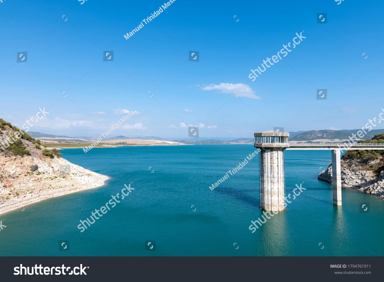 Guadalcacin reservoir in the province of Cadiz, Andalusia, Spain.