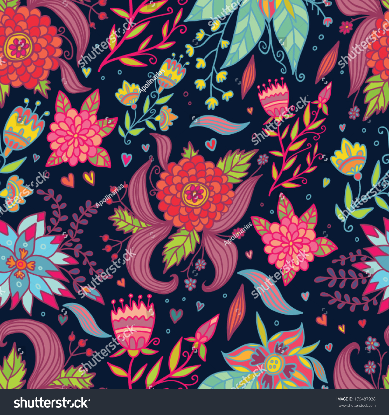 Bright Spring Flowers Seamless Pattern Stock Vector 179487938