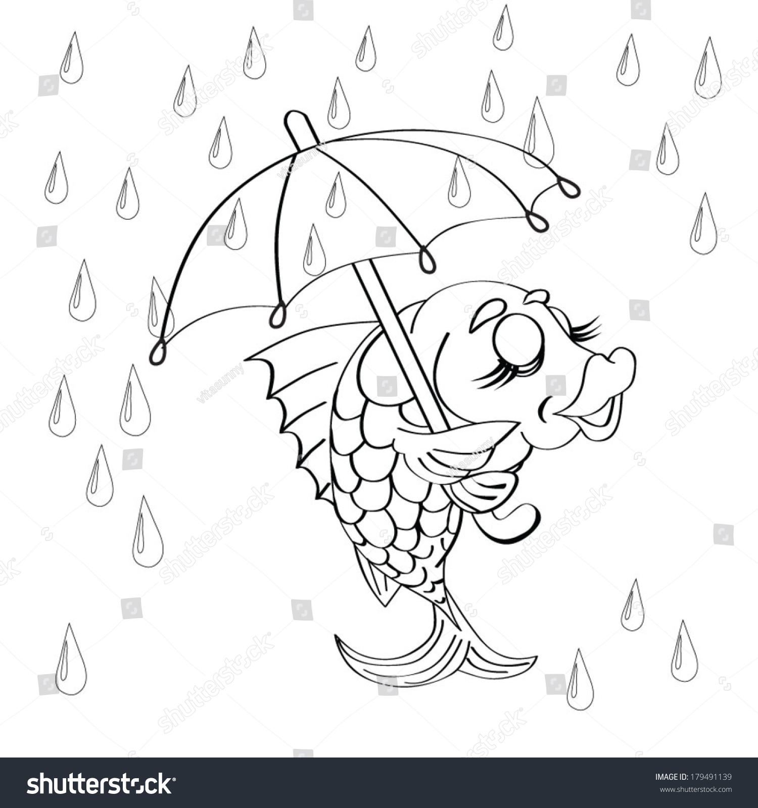 Smiling Fish Holds An Umbrella In The Rain Coloring Book