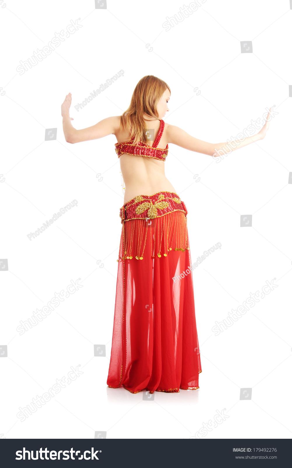 ddc9d185c Teen girl in belly dancer costume dancing